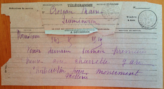 Le télégramme reçu par le maire le 7 juillet 1920 (archives de la Mairie)