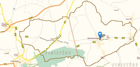 Limites de la commune, et limite du quartier de Kergoat à l'ouest (à partir d'une carte ViaMichelin)