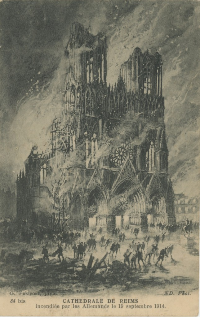 La cathédrale de Reims en feu - Coll. Y. Le Grand